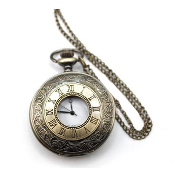 Vintage Big Roman Numeral Bronze Quartz Pocket Watch Pendant Necklace Chain