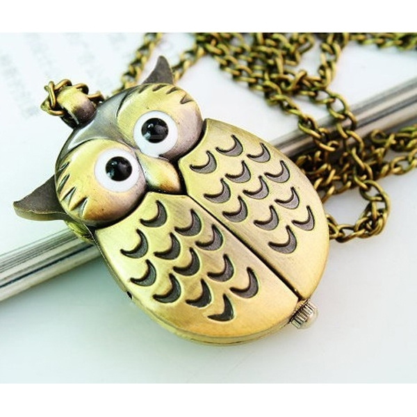Cute Antique Chain Necklace Night Owl Pattern Pocket Watch Quartz Numerals