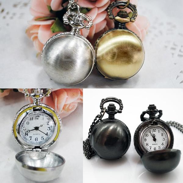 Vintage Style Smooth Ball Pocket Watch Quartz Numerals Watch Chain Necklace