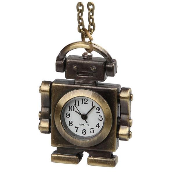 Retro Pocket Watch Mini Robot Pendant Sweater Chain Necklace Quartz Clock