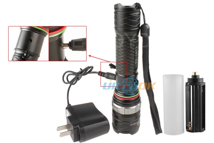 T6 LED 2000 Lumens 3-Mode Zoomable Zoom Flashlight Torch +Charger