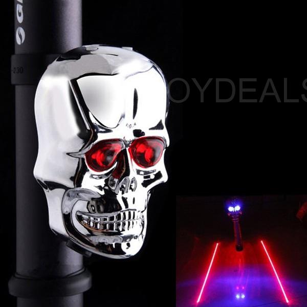 Bike 2 LED 2 Laser Rear Tail Light Skull Flashing Safety Warning Lamp New