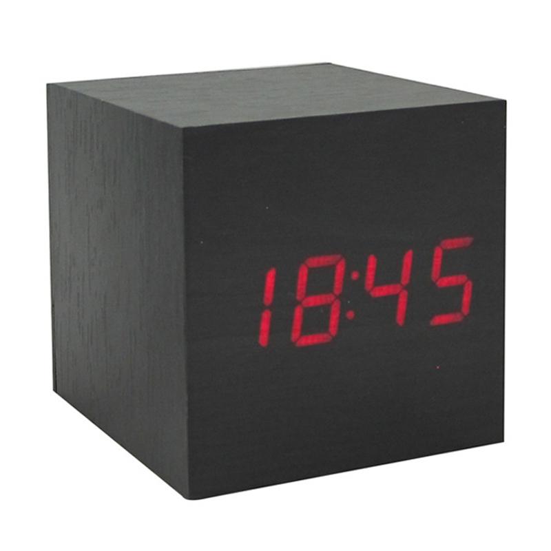 Modern Cute Wooden Wood Digital Led Desk Alarm Clock