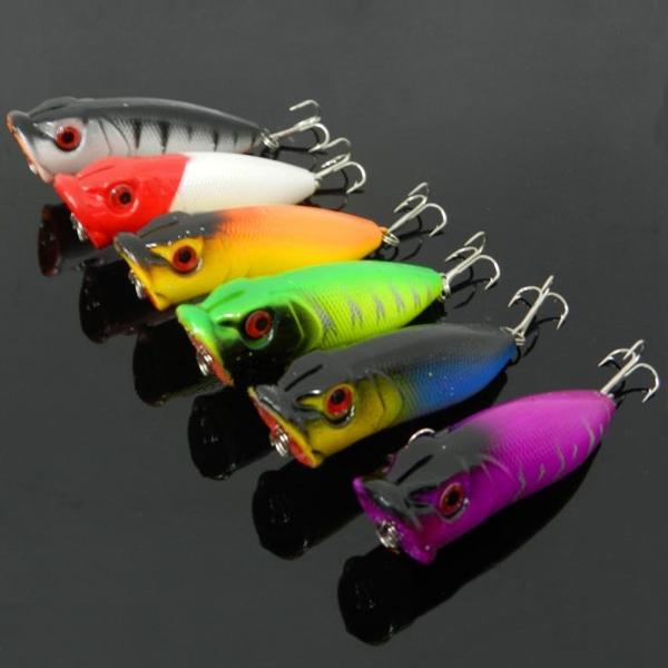 6PCS 3.5cm//2.7g Wobbler Top Water Popper Fishing Lure Bass Hard Bait Tackle Kit