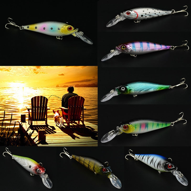 Lot 8pcs New Fish Lure Imitation Fishing Bait Tackle Bass Hook 10cm 11.8g