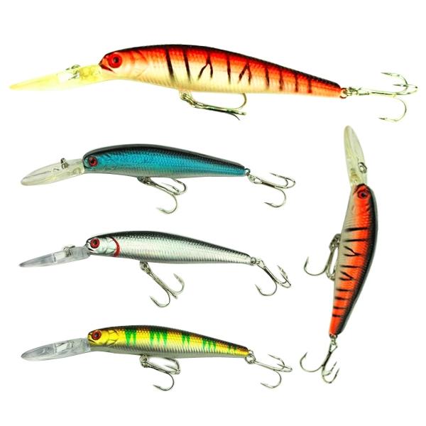 Hot 4pcs/Lot Deep Diving Baits Lifelike Plastic Minnow Fish Lure Baits
