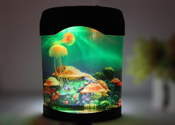 Mini Swimming Jelly Fish Tank Water Lamp Bedroom Mood Night Light Color  Changing | EBay