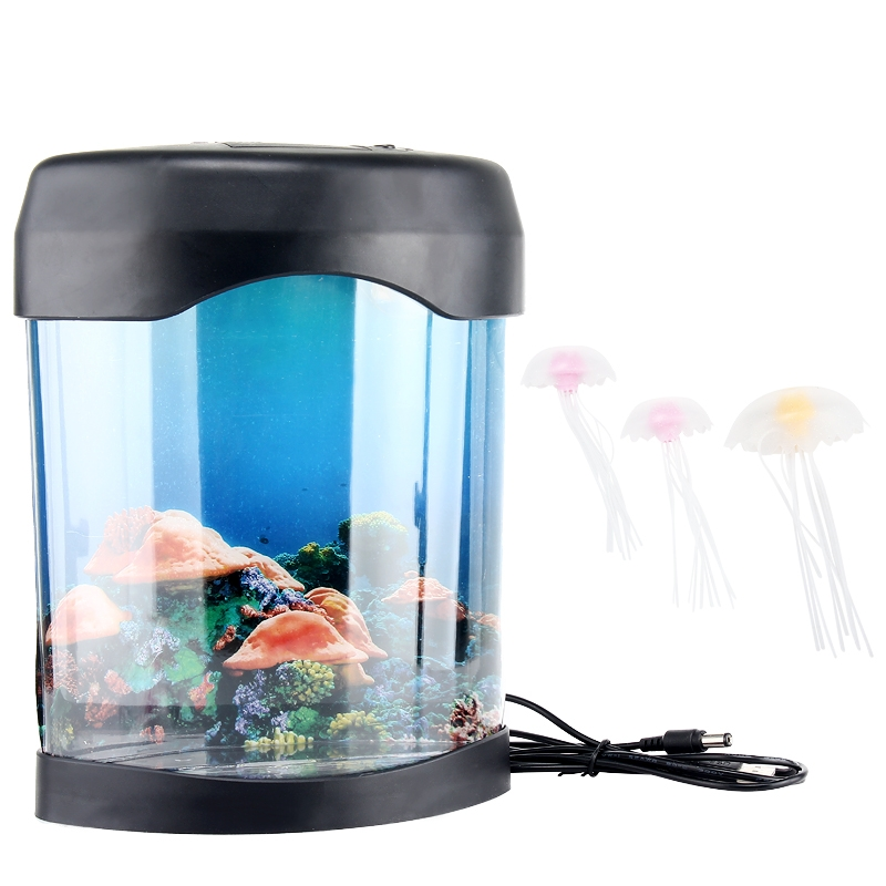 Relaxing Bedside Mood Lamp Volcano Water Aquarium Fish