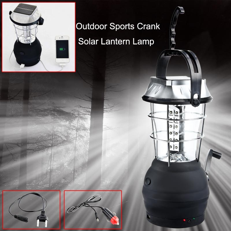 Wholesale Hand Crank Solar 36LED Lamp Outdoor Super Bright Rechargeable Camping Light