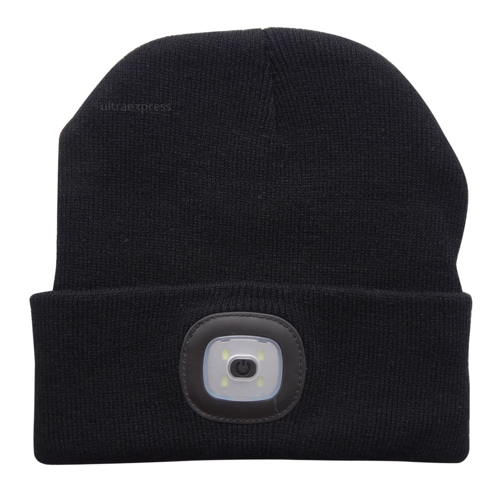 4 LED Knit Hat USB Rechargeable Hands Free Flashlight Cap for ... c9f13b73ca4